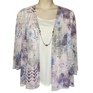 Alfred Dunner Size 3X Jacket Top and Necklace Set
